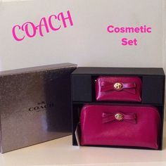"NWT. Coach Turnlock Box Make-up Set Awesome!!!  Great for your make-up!!!  Parent Leather!!!  Coach color is Cranberry. Comes in beautiful Coach gift box!!!  2 pouched, both zip closure. Matching interiors fabric, larger pouch has slip pocket. Super cute set!!!  Large 7""x4""x3.5"". Smaller 4""x3""x2"". Coach Makeup"