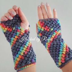 Rainbow Crochet Gloves