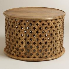Tribal Carved Coffee Table, handcrafted of mango wood,     Fire-etched,     World Market exclusive,     Made in India