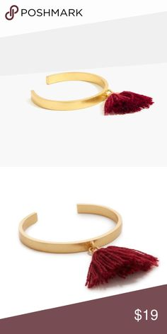 """Madewell NWT Tassel Cuff Bracelet A sleek cuff with a single swingy tassel. Seriously cool worn solo or mixed into your current bracelet rotation. Expect many (many) compliments. Brand new ‼️ Color: Rich Burgundy Diameter: 1 3/4"""" x 2 1/4"""". Brass, zinc, nylon, cubic zirconia. Care instructions: Clean your jewelry after each wearing with a soft cloth. Import. Madewell Jewelry Bracelets"""