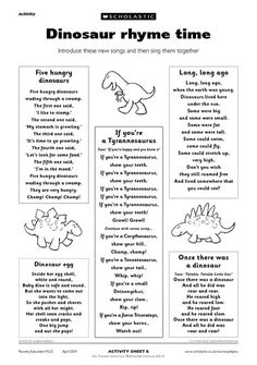 58 new Ideas for music theme preschool crafts teaching Dinosaur Rhymes, Dinosaur Theme Preschool, Dinosaur Activities, Preschool Songs, Preschool Themes, Preschool Lessons, Preschool Classroom, Kids Songs, Dinosaur Poem