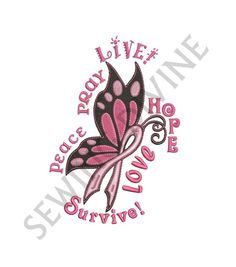 Cancer AWARENESS EMBROIDERY Design Instant Download 3 Sizes Pink Butterfly Ribbon Stand Up To Cancer