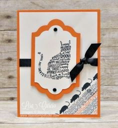 Black cat outlined in Halloween text makes for fun focal point. Spooky Cat by Stampin' Up! Up Halloween, Halloween Cards, Envelope Punch Board, Thanksgiving Cards, Holiday Cards, Mini Albums, Scrapbooking, Cat Cards, Animal Cards