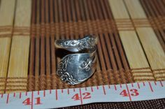 Hand Hammered / Made Wide Silver Spoon Detailed Floral Ring Size 8.5 -9  FSR8L #Handmade #vintagespoonring