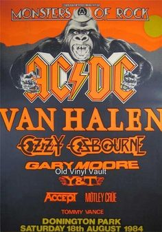 Monsters of rock concert posters | ... DC-Monsters Of Rock Donington Park UK August 18th 1984 concert poster. Miss those days!