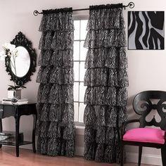 Gypsy Zebra Print Voile Ruffled Curtain Panels