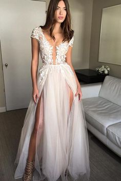 Wedding Dress deep v-neck appliqued white evening dress, long lace dress with double slit - long tulle scoop lace white appliqued prom dress with double slits Ivory Prom Dresses, Backless Prom Dresses, Tulle Prom Dress, Lace Dress, Formal Dresses, Dress Long, Long Dresses, Dresses Uk, Dresses Online