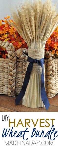 DIY Harvest Wheat Bundle, Make a wheat bundle for your fall decor using foam and wheat stems. via @madeinaday