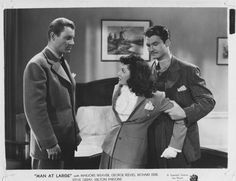 Richard Derr, Marjorie Weaver, and George Reeves, Man at Large (1941)