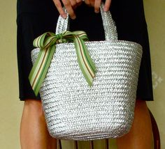 Hope Studios: $1 Summer Bag==straw painted silver