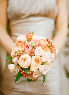 Peach colours wedding bouquets