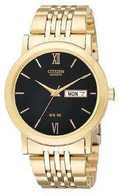 Citizen Quartz Day Date Gold Tone Black Dial Men's Watch – BK4052-59E