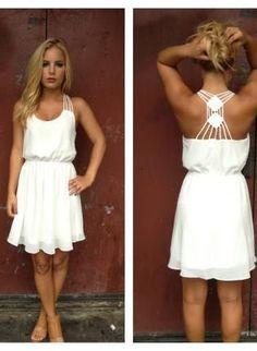 White Chiffon Double Diamond Strappy Back Dress.