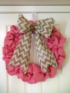 Pink Burlap Wreath with Gray Chevron Bow. Cute for Valentine's Day and Spring