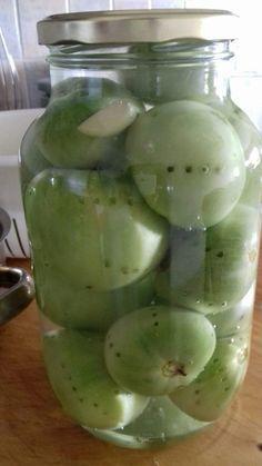 Πράσινες ντοματούλες τουρσί - ηχωμαγειρέματα - 16 Preserving Food, Preserves, Pickles, Cucumber, Food And Drink, Appetizers, Cooking Recipes, Snacks, Drinks