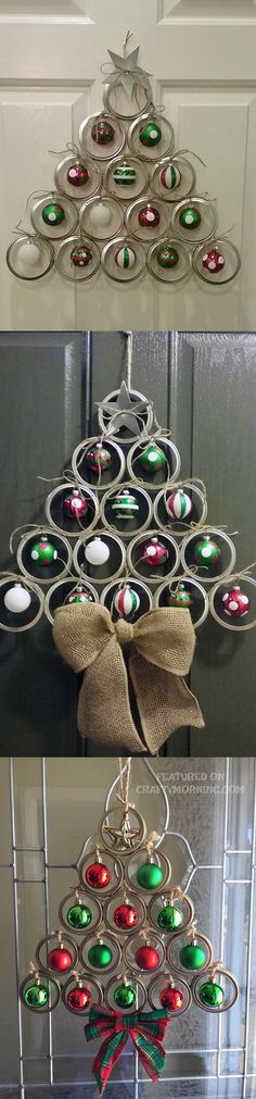 """This mason jar lid Christmas tree door hanger is adorable and so easy to make at home! This was made by Bri Wood and she let me share with you guys! Adorable. Supplies Needed: 15 canning lids 14 small ornament bulbs Clothespins Twine Hot glue gun Metal glue Directions: """"I used the wi..."""