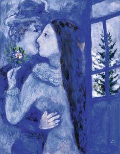 chagall, marc le baiser or Marc Chagall, Acrylic Painting Lessons, Oil Painting Abstract, Painting Art, Online Painting, Watercolor Artists, Watercolor Paintings, Oil Paintings, Chagall Paintings