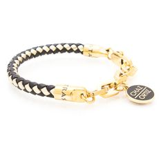 """CHAZ ORTIZ BLACK/GOLD: Black & Gold weaved leather bracelet. Gold electroplated chain link & charm featuring """"Chaz Ortiz"""" & Rastaclat debossed emblems. $39.99"""