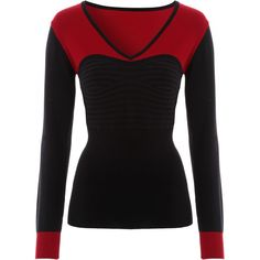 Black Red Sweetheart Rib Jumper ($25) ❤ liked on Polyvore featuring tops, sweaters, jumper top, ribbed knit top, ribbed top, knit tops and red top
