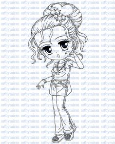 Digital Stamp-Sweet Cheeks, Digi Stamp, Coloring page, Printable Line art for Card and Craft Supply, Art by Mi Ran Jung
