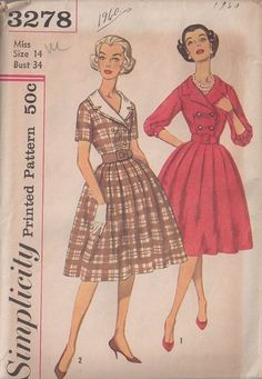 MOMSPatterns Vintage Sewing Patterns - Simplicity 3278 Vintage 50's Sewing Pattern DANDY Rockabilly Notched Collar Double Breasted Shirtwaist Bodice, Pleated Full Bell Shaped Skirt Day Dress