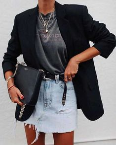 Summer to Fall outfit! Use a blazer to keep the chill at bay Summer to Fall outfit! Use a blazer to keep the chill at bay Edgy Fall Outfits, Mode Outfits, Summer Outfits, Casual Outfits, Denim Skirt Outfits, Dress Outfits, Dresses, Dress Shoes, Blazer Fashion