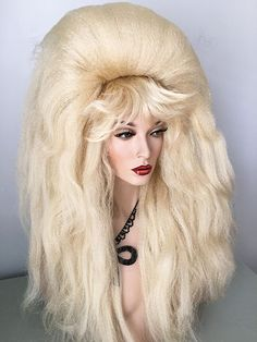 Beehive, Wig, Drag Queen, Pale Blonde, Auburn, Red