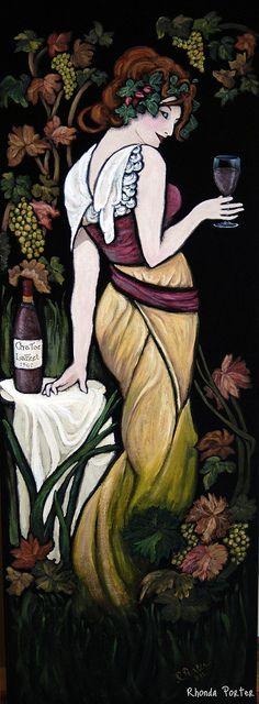 Wine Lady on black velvet - my version of Mucha's Cognac Bisquit