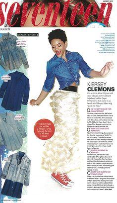 "Lucky Brand's chambray shirt featured in Seventeen's August 2015 ""Denim Besties"" story."