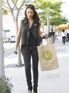 Jessica Alba rocking a Leather Vest