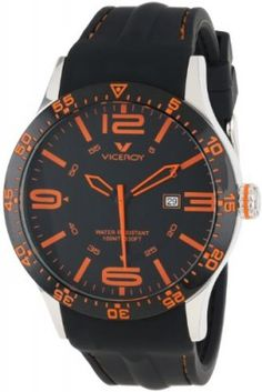 Relógio Viceroy Men's 432049-65 Orange Numbers Black Rubber Date Watch #Relógio #Viceroy