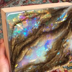 Resin Art Opal painting by carrieaf_ Stuttering Child Resin Wall Art, Diy Resin Art, Epoxy Resin Art, Diy Resin Crafts, Resin Artwork, Acrylic Resin, Acrylic Art, Acrylic Pouring Art, Diy Canvas Art
