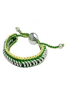 Links of London Friendship Collection In Green And Yellow Woven Sweetie Description
