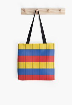 'Red blue yellow rectangles patterns' Tote Bag by MimieTrouvetou Blue Yellow, Red And Blue, Tote Pattern, Tote Bag, Stickers, Artwork, Design, Stuff To Buy, Bags