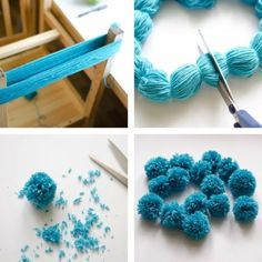 """Noticias """"the easiest way to make multiple pompoms."""", """"Ponpon Yarn pom-poms the easiest way ever diy tutorial."""", """"The Easiest Ever Yarn Pom-poms DIY Kids Crafts, Crafts For Teens, Diy And Crafts, Craft Projects, Arts And Crafts, Kids Diy, Pom Pom Crafts, Yarn Crafts, Bone Crafts"""