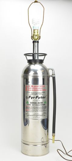 Authentic Chrome Fire Extinguisher Lamp 38 Tall Man Cave Decor