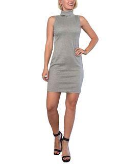 Grey Dress/ Gray Dress/ Turtle Neck Dress/ Mini by ThriftedGal