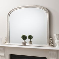 """Gallery Direct Thornby Silver Over-Mantel Mirror 47""""x37"""""""