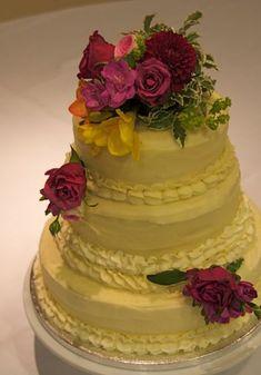 Buttercream vintage style wedding cake - Buttercream vintage style wedding cake.    Chocolate, vanilla and lemon sponges