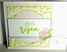 Two Pretty Easter Cards from One Die Cut | MaryGunnFunn.com Look at those little vellum embossed flowers and the clear embossed word!