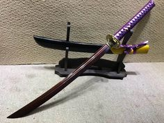 """Niger Sabre,Damascus steel dark red blade,Solid wood scabbard,Brass fittings,Length 34"""""""