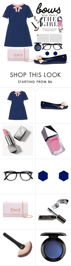 """♥bows♥"" by miss-shirley ❤ liked on Polyvore featuring Gucci, Melissa, Kershaw, Burberry, GUiSHEM, Wolf & Moon, Ted Baker, Bobbi Brown Cosmetics and MAC Cosmetics"