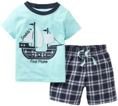 "Carter's Boys 2 Piece 'Daddy's First Mate' Pirate Ship Short Sleeve T Shirt and Plaid Short Set - Toddler - Carters - Babies""R""Us Little Boy Outfits, Baby Boy Outfits, Carters Baby Boys, Toddler Boys, Infant Boys, Kids Boys, Outfits Niños, Kids Outfits, Summer Outfits"