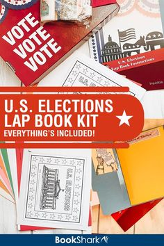This U.S. Elections Lap Book Kit provides 21 hands-on papercrafts to help your student (ages 8+) understand the American election process. Learn how a president is elected. | The kit includes pre-printed templates, craft supplies, and full-color instruction book. | A great supplement for any U.S. history and/or government course. Or use it as a standalone civics or elections unit study. | #americanhistory #usgovernment #lapbooking #elections #homeschooling #civics