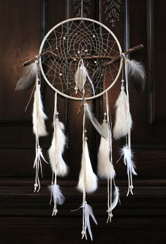 Sacred Tree Dreamcatcher, White & Maple, Native American, Handmade (L) $205