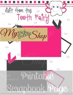 DIY Printable Digital Scrapbook Page Tooth Fairy Instant Download on Etsy, $4.29