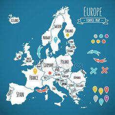 Kézzel rajzolt Európa utazik térkép csapok vektoros illusztráció — Stock Vektor © gromovpro #72931145