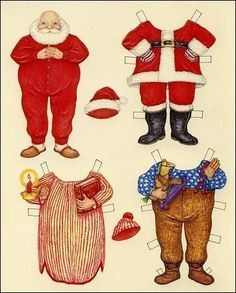 I love these little Santa paper dolls! Free printable Laura, did you have paper dolls when you were little? Noel Christmas, Winter Christmas, Vintage Christmas, Xmas, Whimsical Christmas, Christmas Nativity, Father Christmas, Christmas Paper, Christmas Decor