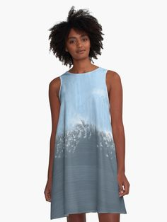 Blurred Blocks Abstract Design' A-Line Dress by Sheila Wenzel Ganny Light Ombre, Light Blue, Pastel Clouds, Pastel Sky, Pastel Purple, Coral Pink, Teal Blue, Magenta, Blue Green
