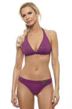 Visceglia Giulia Purple Bikini with Crystal Buckle